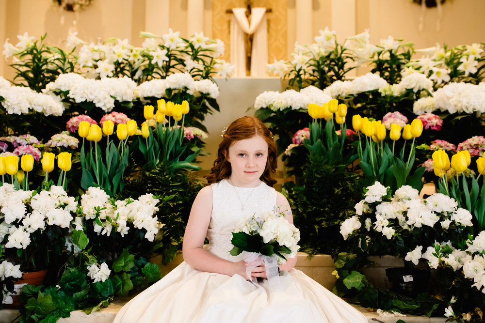 First Holy Communion Portrait at church | Jennifer Tippett Photography