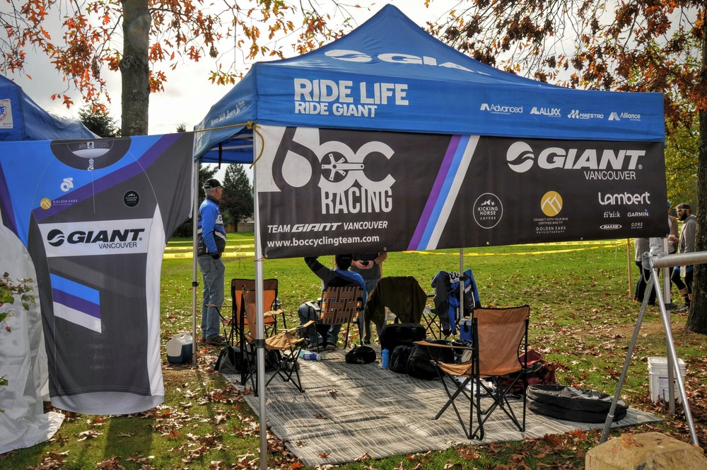 Dave has the team tent set up bright and early at all key team events.