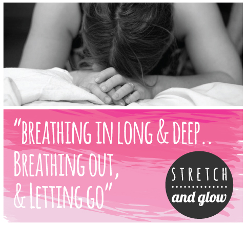 stretch and glow yoga breathing out letting go