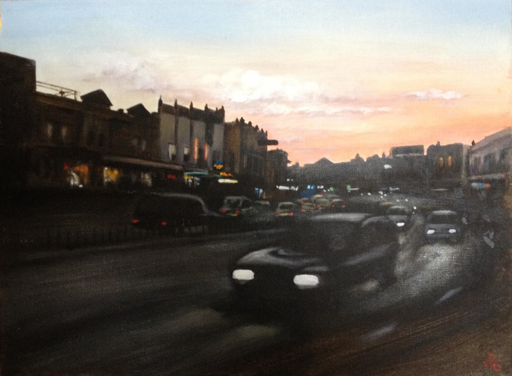 My painting shows the Leichhardt stretch of Parramatta Rd, this streetscape may soon be just a memory.