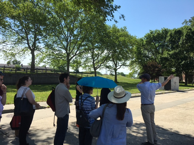 Executive Director Murray Fisher giving Overbrook a tour of the School's Governors Island campus