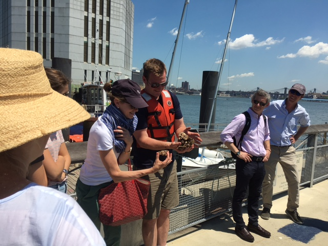 Harbor School's Aquaculture Program Director Pete Malinowski shows Overbrook's Directors some oysters from the Project's on-site oyster nursery