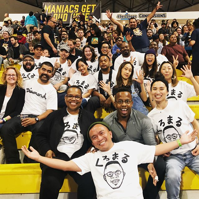 So fun seeing @knice1 compete at the US sumo open! @lee_phillip and I made groupie shirts! Swipe right to see the doodle. #kuromaru
