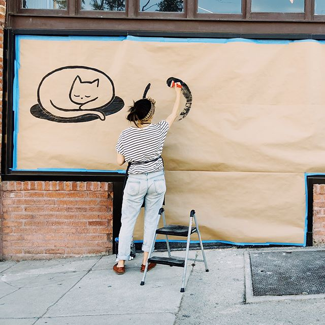 Painted signage for @ototo.la , a new sake bar opening soon in echo park 😸  cat logo design by @wknds