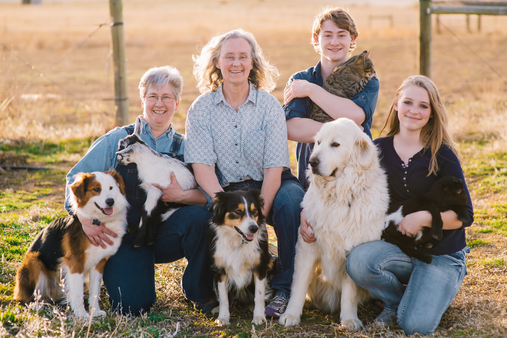 A great family photo of us here on small acre farm with our favorite animals