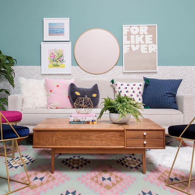 😍 #Repost @ohjoy with @Rep0stApp • • • • • • • When you want a lot of style but don't want to commit, use removable wallpaper! We're showing you how today on the blog with this pretty living room. (👀 link in bio!) #StyledWithOhJoy