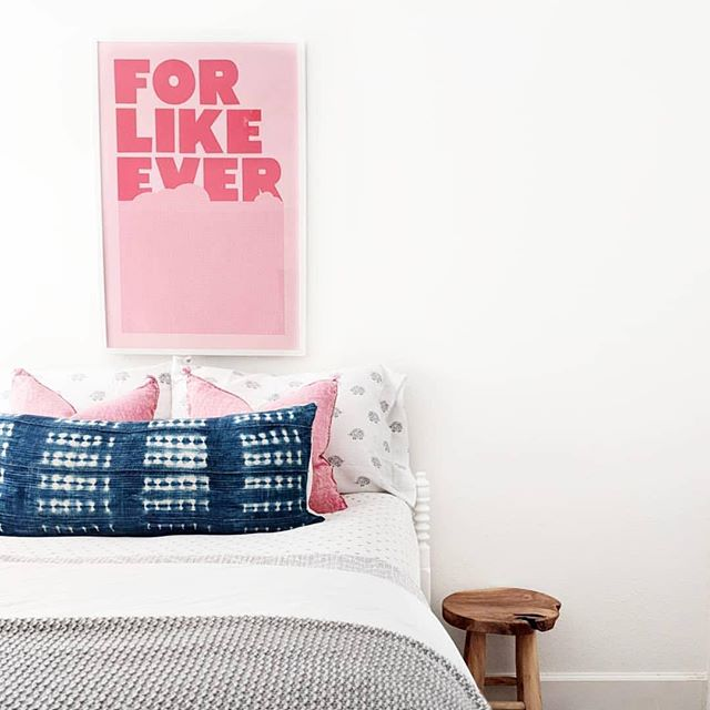 Love pink & navy together! #Repost @thehomebodyhouse with @Rep0stApp • • • • • • • Do you ever let your kids be apart of the design process when designing their spaces and then immediatly regret giving them the freedom to choose 😂🙋🏼‍♀️? When putting together this room for my step-daughter the only thing she asked for was yellow walls 🤦🏼‍♀️😨. Despite my dislike for yellow, I compromised and we painted the bed wall yellow. Every day for the last 2.5 years I've hated the yellow and have had such a hard time designing around that stupid wall and every time I tried to photograph it, the entire room was cast in an ugly yellow glow (which is why you've never seen this room before). Thank goodness we're putting the house on the market because it gave me an excuse to paint the wall back white and now I'm over here like ahhh 😌. So.Much.Better. . . . . . #doingneutralright #makehomematter #hometohave #currentdesignsituation #currenthomeview #finditstyleit #pocketofmyhome #realhomes #theeverygirlathome #houseenvy #mypinterest #fixerupper #fixerupperstyle #heyhomehey #stellarspaces #designinspo #bloglovinhome #housetohome #howihome #myhomesense #cljsquad #homelove #weliketolikeit #howyouhome #tween #tweenbedroom #lightandbright