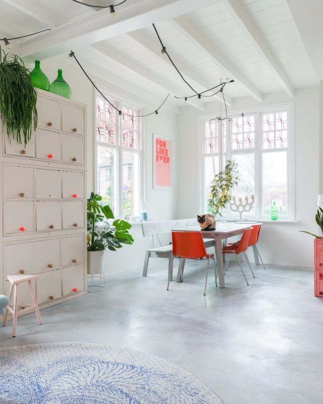 Love seeing my print in such a gorgeous space! 😍 #Repost @zilverblauw with @Rep0stApp • • • • • • • My mother in law has a keen eye for design and saved these red chairs (from a Belgian brand) from the junkyard. We kept them in our garden, but @antoinettetp inspired me to use them indoors for a while. Like it. ❤️