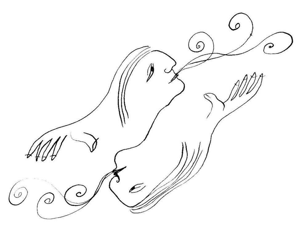 """Ilustración """"A dos voces"""" de  Déborah Kalmar"""