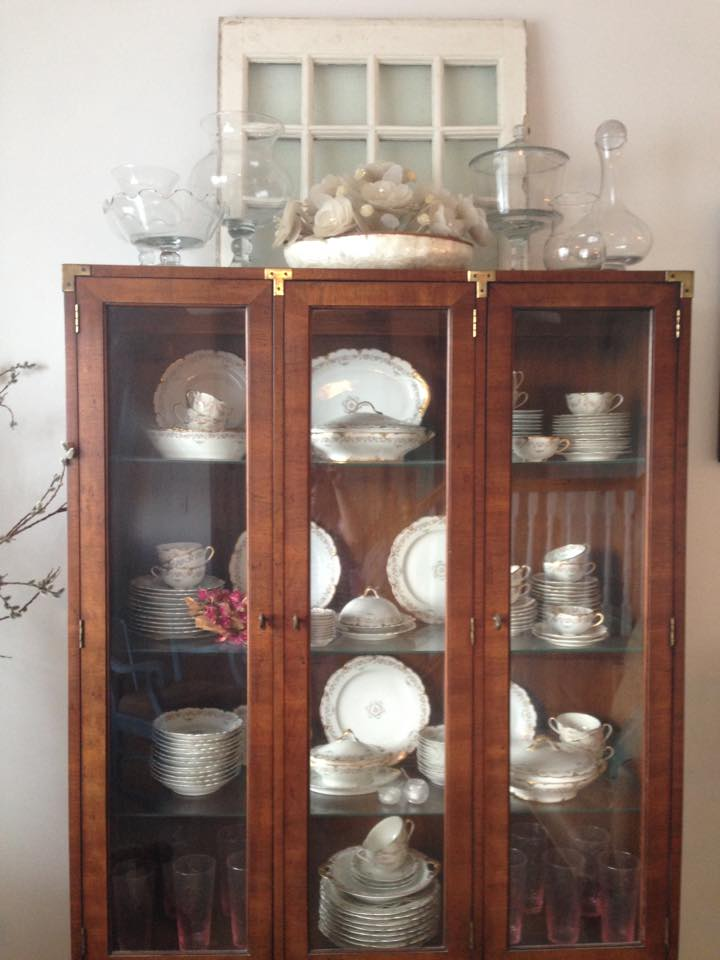 These dishes are family heirlooms and they had been in the bottom, behind closed doors. We pulled them out and displayed them so they now look beautiful, almost like art!