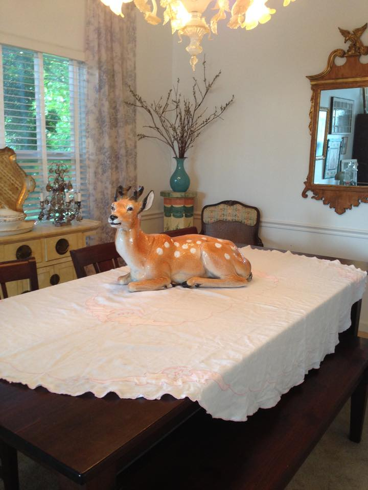 The deer is a sentimental piece to our customer. She wanted somewhere special for it and we needed something dramatic, but not tall, for the dining table!