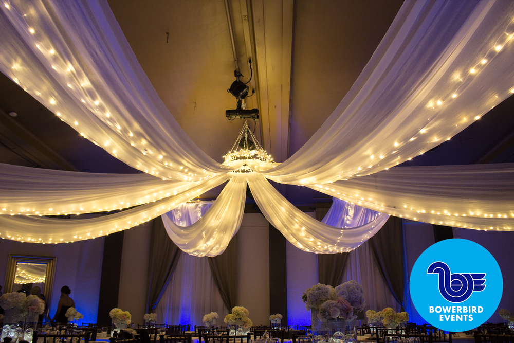 White Crushed Sheer Ceiling Swags with Christmas Lights