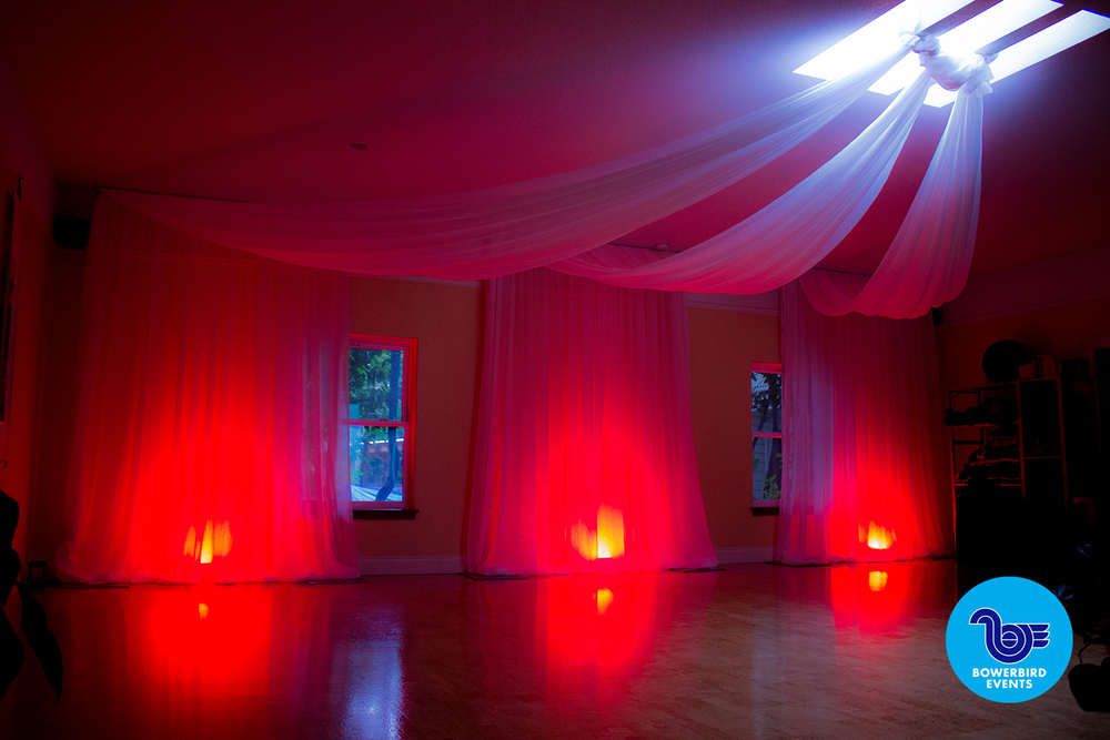 White crushed sheer with Red LED uplighting