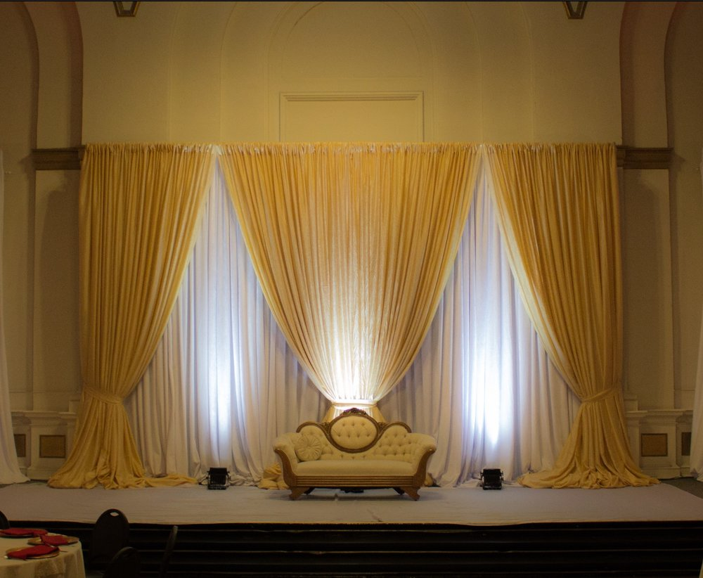 Gold Tergalet paired with White Velour for backdrop.