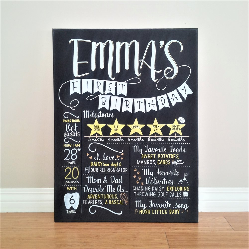 Emma's First Birthday Board.jpg