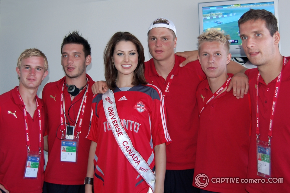Miss Universe Canada 2007 Inga Skaya with Team Austria at 2007 FIFA Under 20 World Cup