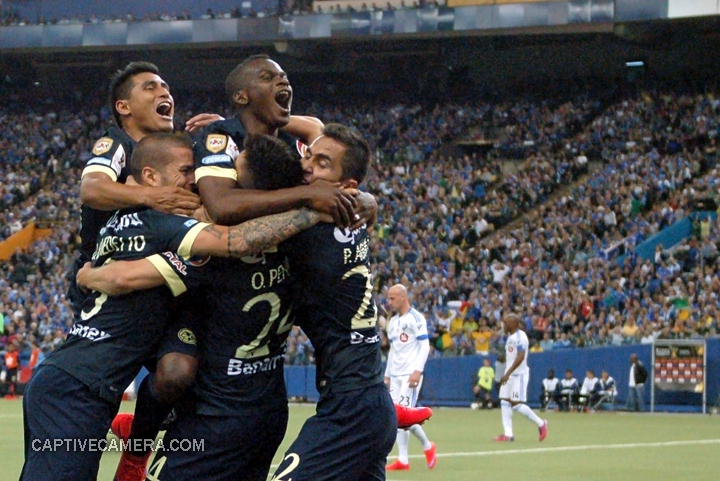 Montreal, Canada - April 29, 2015: Club America teammates celebrate Oribe Peralta's goal to give a 2-1 lead over Montreal Impact.