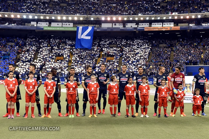 Montreal, Canada - April 29, 2015: Club America starting eleven amidst a sold out Olympic stadium.
