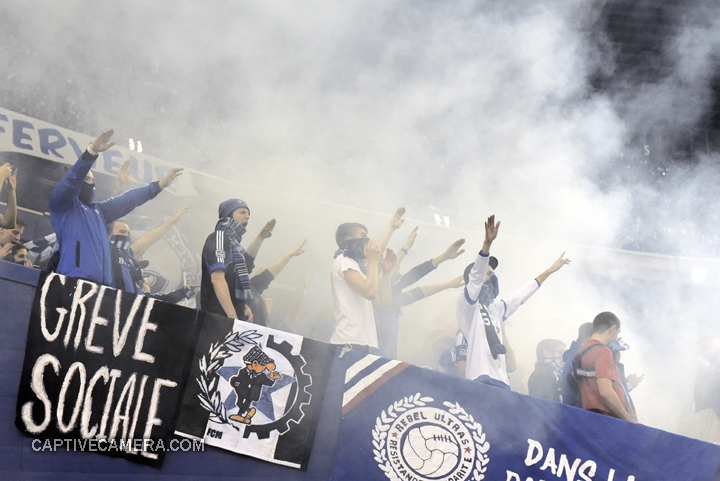 Montreal, Canada - April 29, 2015: Smoke bombs marked the kickoff of the Champions league final match at Olympic stadium.