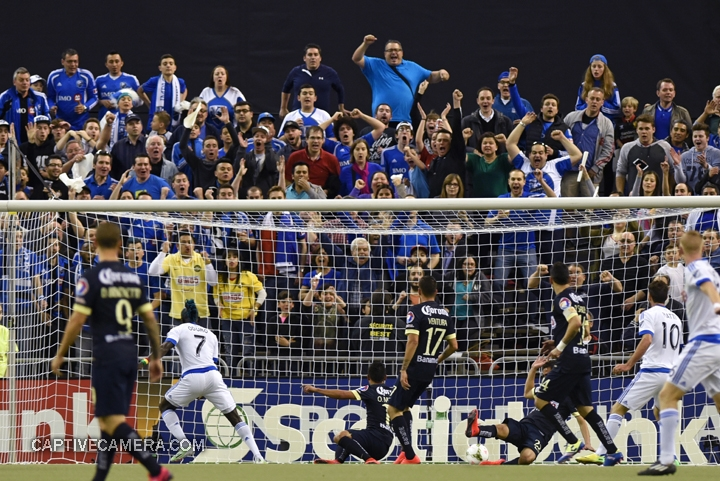Montreal, Canada - April 29, 2015: Fans react after  Andres Moreno scored for Montreal Impact in the 8th minute.