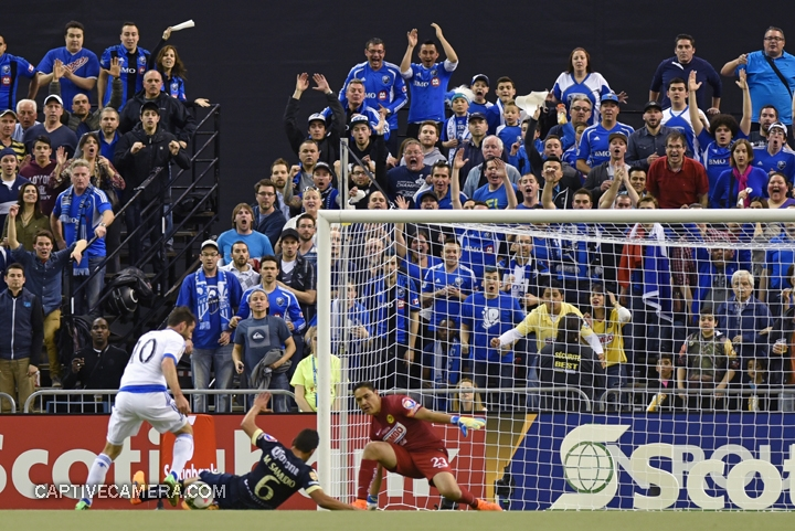 Montreal, Canada - April 29, 2015: Ignacio Piatti #10 of Montreal Impact nearly scores in the 24th minute only to be stopped by goalie Moises Munoz.