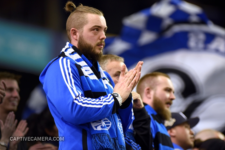 Montreal, Canada - April 29, 2015: Montreal Impact supporters remain hopeful with the goal advantage.