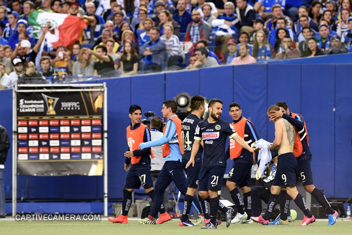Montreal, Canada - April 29, 2015: Club America players celebrate the second goal scored by Dario Benedetto #9.