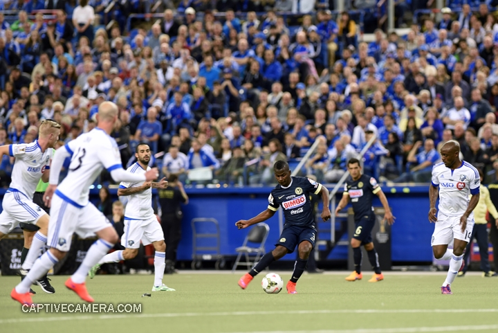 Montreal, Canada - April 29, 2015: Darwin Quintero #3 of Club America is surrounded by Montreal Impact defenders.