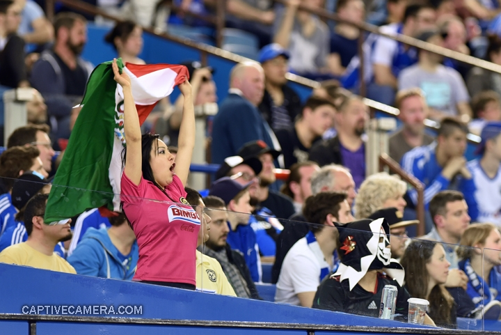 Montreal, Canada - April 29, 2015: A Club America supporter waves the Mexican flag.