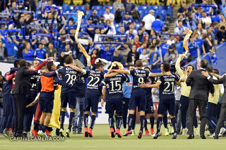 Montreal, Canada - April 29, 2015: Club America players and staff celebrate the 4-2 victory after the final whistle.