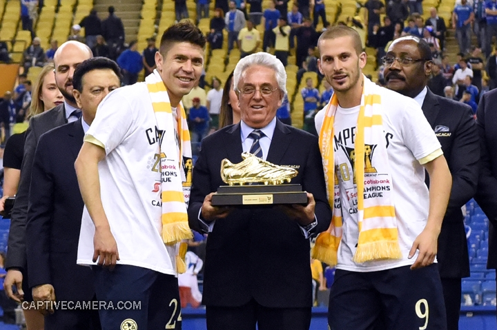 Montreal, Canada - April 29, 2015: The golden boot is presented to both Oribe Peralta #24 and Dario Benedetto #9 of Club America.