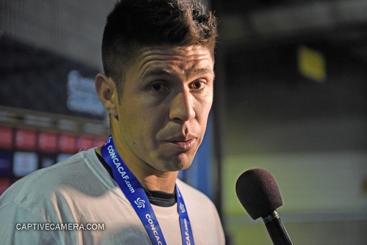 Montreal, Canada - April 29, 2015: Oribe Peralta of Club America at the media mix zone following the game at Olympic stadium.