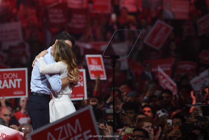 Justin Trudeau will become Prime Minister of Canada as the Liberal Party wins vote majority.   Justin Trudeau with wife Sophie at Liberal party rally in Brampton, Ontario on October 4, 2015.