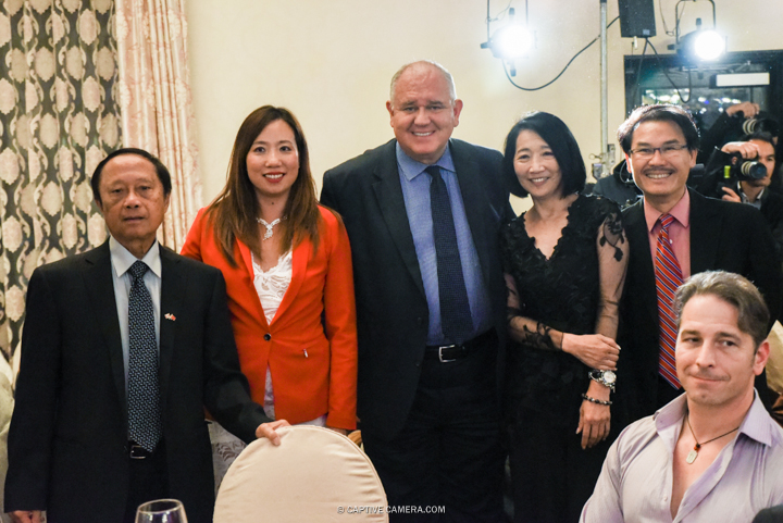 Oct. 9, 2015 (Markham, ON) - Distinguished City of Markham guests at 109 Taylormade's fashion show Merging Horizons. Left to right:  Alex Chiu (Ward 8), Amanda Yeung Collucci (Ward 6), Frank Scarpitti (Mayor), Evan Yanagi (Lead Designer), Alan Ho (Ward 2).