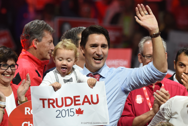 Justin Trudeau will become Prime Minister of Canada as the Liberal Party wins vote majority.   Justin Trudeau and family at Liberal party rally in Brampton, Ontario on October 4, 2015.