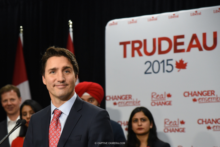 Justin Trudeau will become Prime Minister of Canada as the Liberal Party wins vote majority.   Justin Trudeau at press conference in Brampton, Ontario on October 4, 2015.