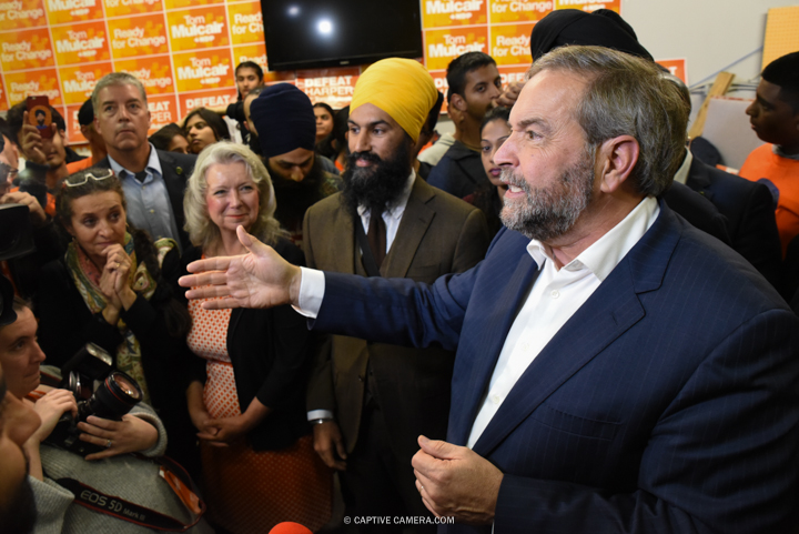 Oct. 13, 2015 (Brampton, ON) - NDP leader Thomas Mulcair visits Brampton East riding of NDP candidate Harbaljit Singh Kahlon, six days before Federal elections.