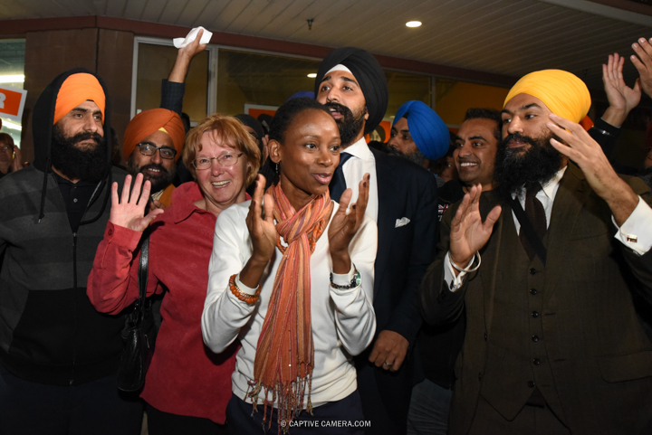 Oct. 13, 2015 (Brampton, ON) - NDP Brampton candidates Rosemary Keenan (Brampton Centre), Adaoma Patterson (Brampton West), Harbaljit Singh Kahlon (Brampton East) and NDP deputy leader Jagmeet Singh during Thomas Mulcair's visit.