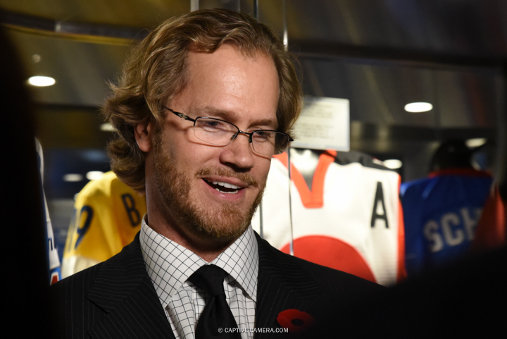 Nov. 6, 2015 (Toronto, ON) - Chris Pronger interviewed by media at the  Hockey Hall of Fame induction ceremony.