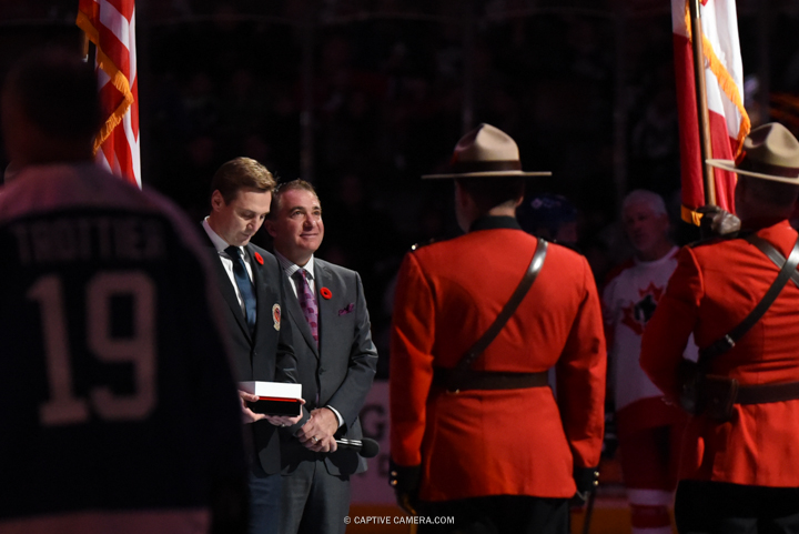 Nov. 8, 2015 (Toronto, ON) - Sergei Federov receives his Hall of Fame jacket at the Air Canada Centre for Haggar Hockey Hall of Fame Legends Classic.