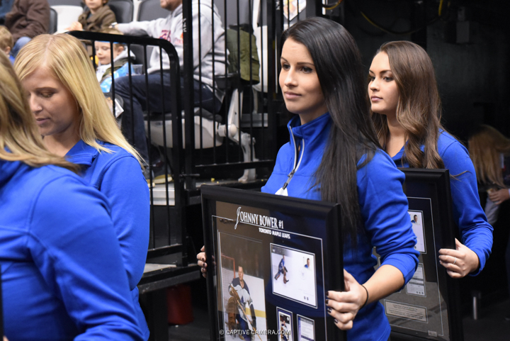 Nov. 8, 2015 (Toronto, ON) - Fan prizes are brought out during intermission at the Haggar Hockey Hall of Fame Legends Classic at Air Canada Centre.
