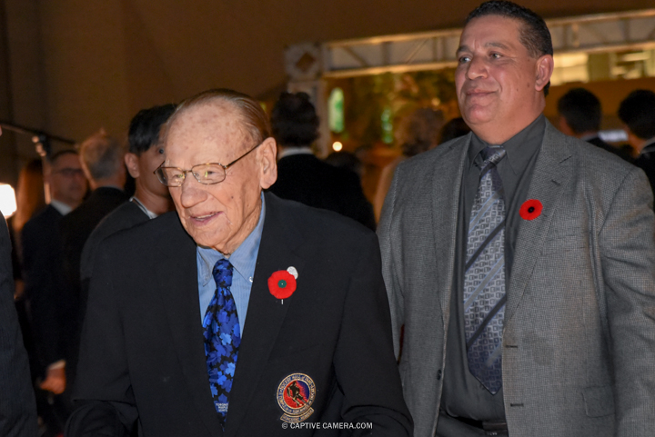 Nov. 9, 2015 (Toronto, ON) - Former NHL player Johnny Bower on the red carpet to the Hockey Hall of Fame induction ceremony at Brookfield Place, downtown Toronto.