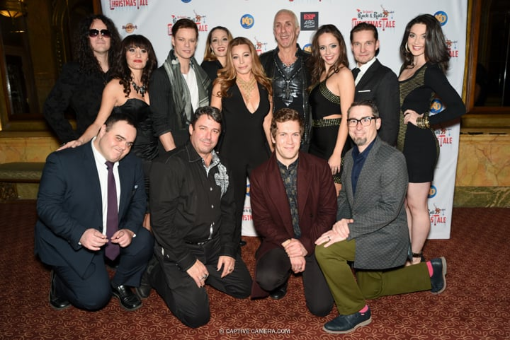 The ensemble cast at the red carpet premiere of Dee Snider's Rock and Roll Christmas Tale at Winter Garden Theatre in Toronto on November 9, 2015. Top l-r: Sean Kelly, Valerie Stanois, Peter Deiwick, Shannon Lewis, Taylor Dayne, Dee Snider, Lexi Soha, Tiera Watts. Bottom l-r: Josh Murray, Kevin Fox, Spencer Robson and Adam John Hunter.