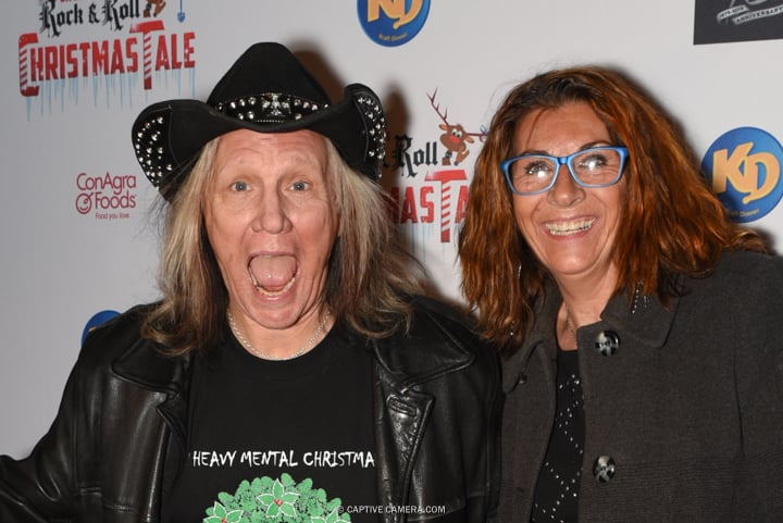 Brian Vollmer of rock band Helix with wife Lynda at the red carpet premiere of Dee Snider's Rock and Roll Christmas Tale at Winter Garden Theatre in Toronto on November 9, 2015.