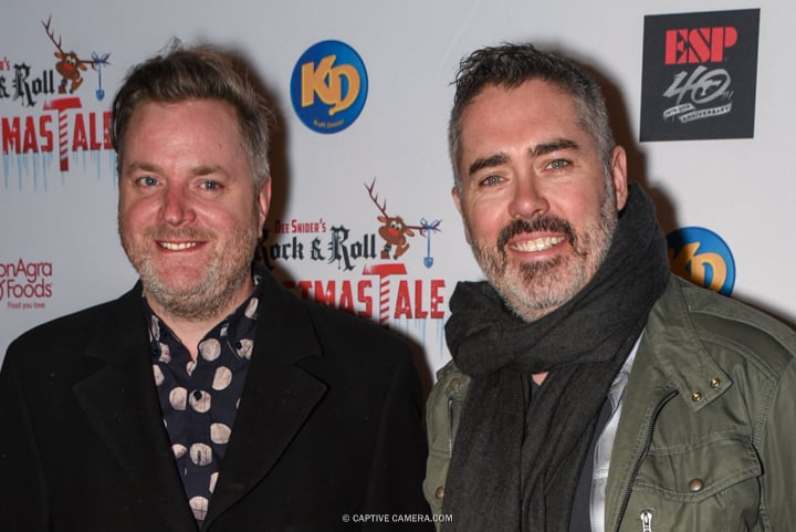 Kevin Hearn and Ed Robertson of rock band The Barenaked Ladies at the red carpet premiere of Dee Snider's Rock and Roll Christmas Tale at Winter Garden Theatre in Toronto on November 9, 2015.