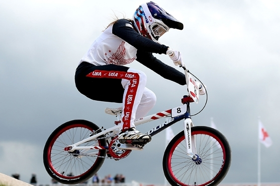 2012 Team USA Olympian, Alise Post, wears BMX racing gear from head to toe.