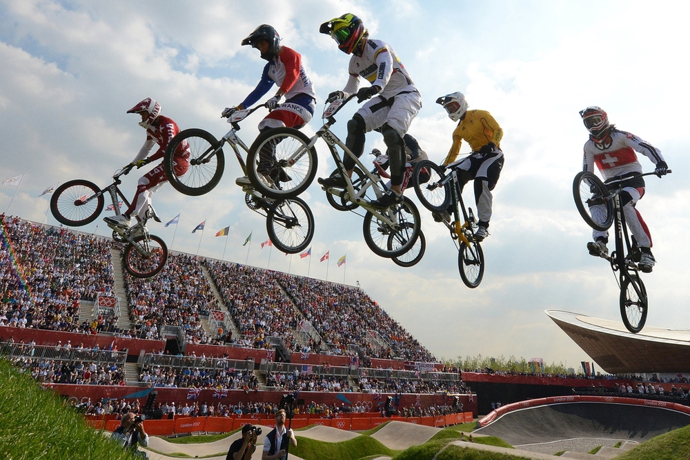 The world's best BMX racers soar through the air at the 2012 London Olympics. BMX racing made its debut as an Olympic sport in 2008.