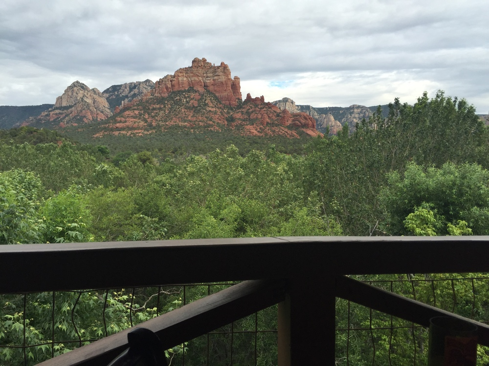 The view from our outside table at hideaway house