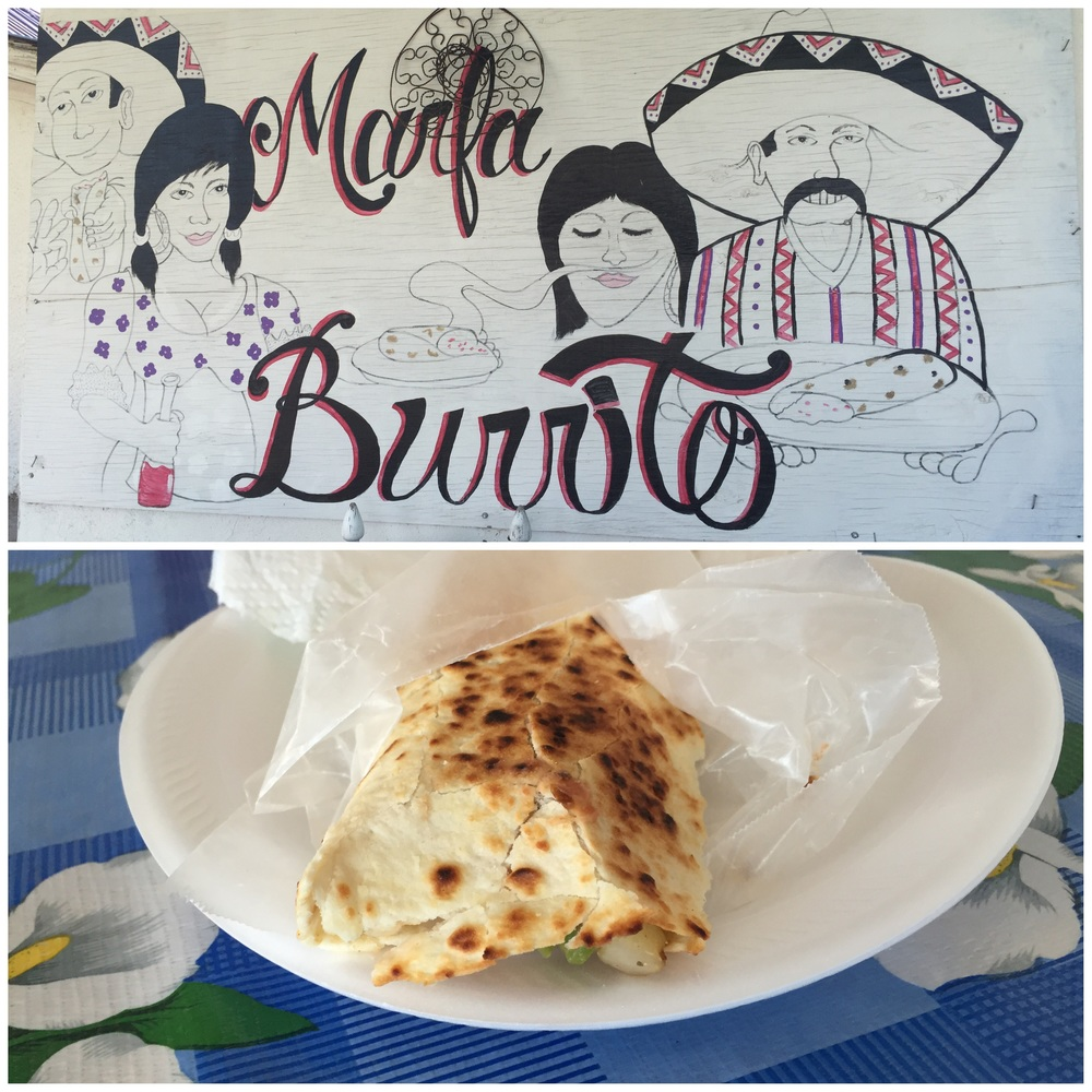 The burritos at Marfa Burrito were homemade deliciousness.