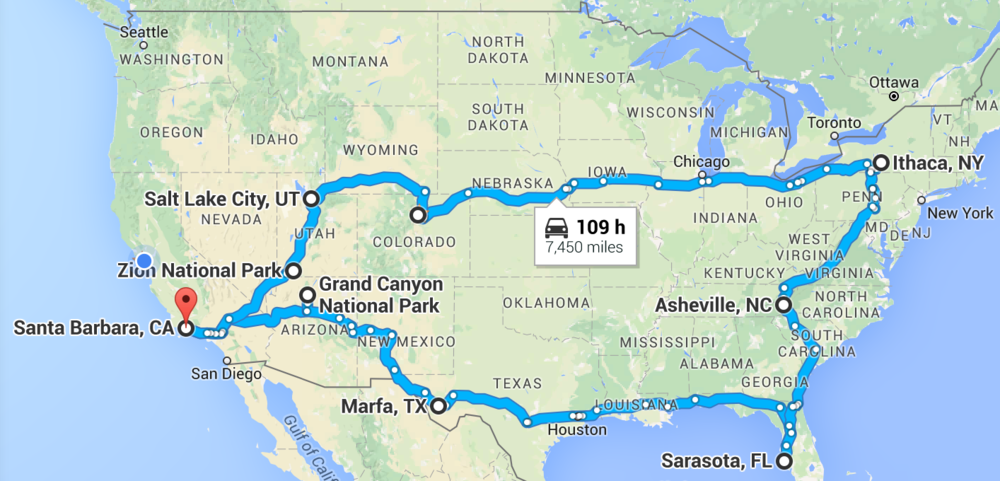 We drove quite a bit more than 7450 miles but this is basically the route we took.